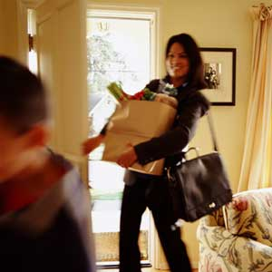 Picture of working mom arriving home